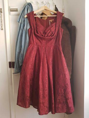ÚLTIMOS DIAS! Vestido festa midi com renda NOVO 38 // Lace Dress NEW