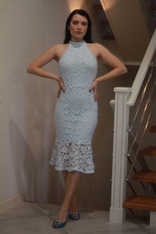 Платье голубое кружево вышивка рыбка