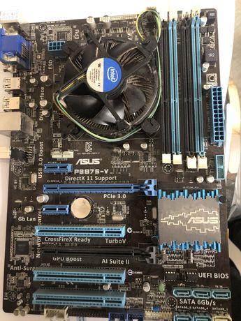 Материнська плата ASUS P8B75-V та процесор, кулер Інтел