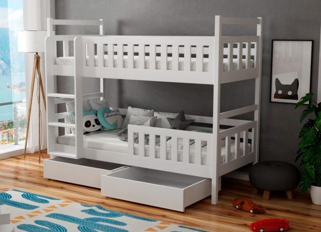 Łóżko sosnowe dwu osobowe piętrowe WOJTEK 8! Materace w zestawie