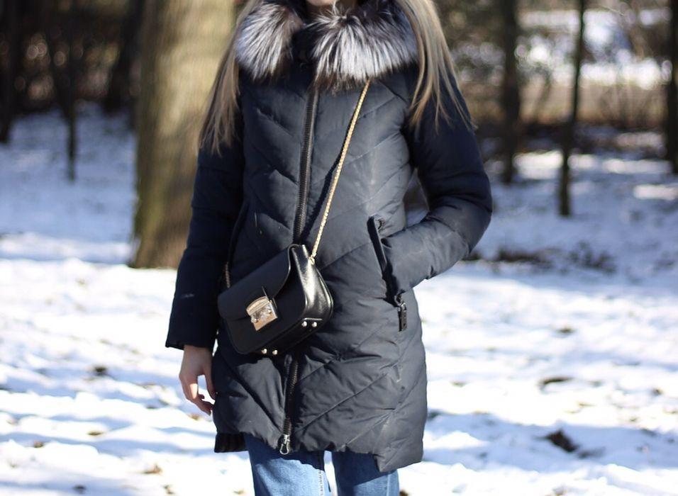 Куртка зимняя пуховик натуральный мех темно-синяя стильная Одесса - изображение 1