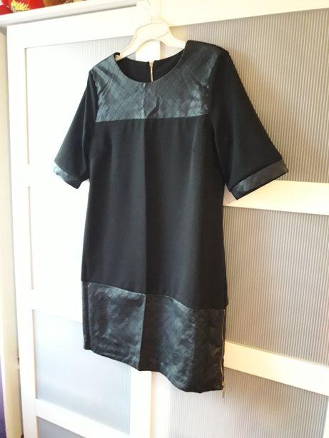 Czarna sukienka ze wstawka skórzana L
