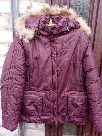 Женская зимняя куртка с мехом, вишневая, жіноча куртка з хутром