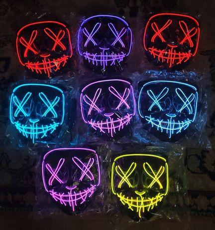 Светящаяся маска судная ночь Гая Фокс анонимус хакер тик ток мима