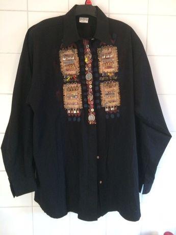 Czarna koszula bluzka Boho Etno efektowna aplikacja