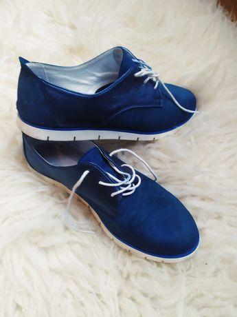 Туфлі жіночі натуральні сині на шнурівку