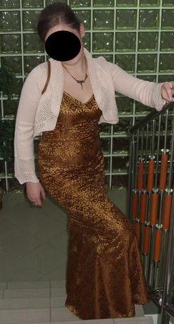 Złoto-brązowa suknia wieczorowa - ryba
