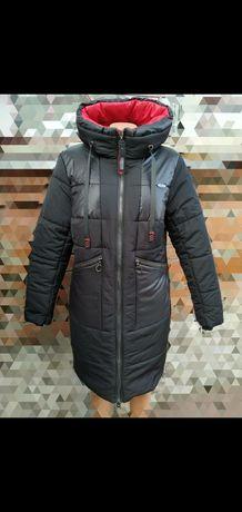 Пальто зимнее 50 52 54 56 58 60 размер полу пальто черный темно синий