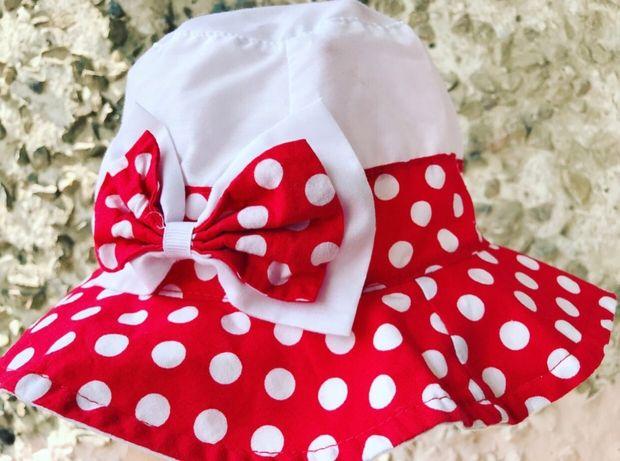 Панамка детская для девочки летняя в горошек с бантиком