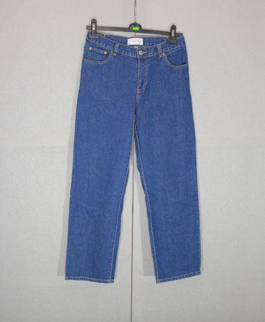 Прямые синие mom джинсы