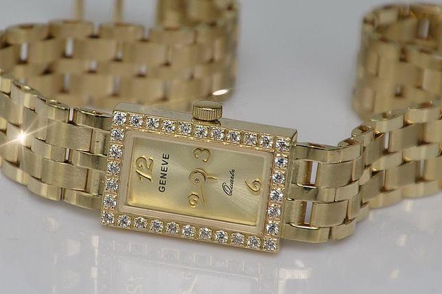 PRZEŚLICZNY złoty damski zegarek 26,6g 14k - NAJTANIEJ! lw008y B