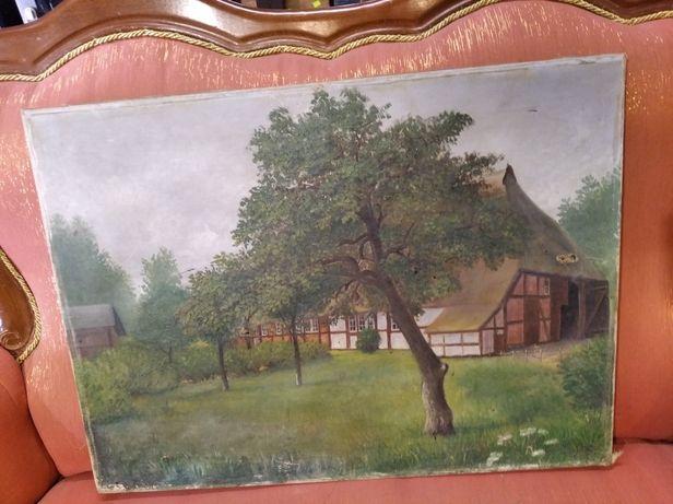 Stary obraz malowany na płótnie dom las drzewa