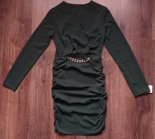 Śliczna nowa sukienka, butelkowa zieleń idealna na rozm 36 i 38