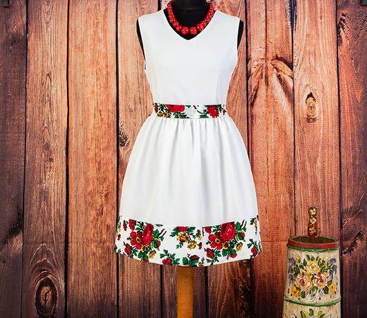 24h- 38/M biała sukienka wzór bukowiański kwiaty