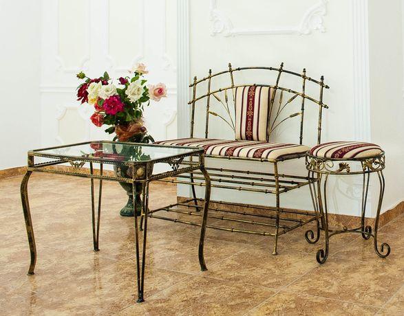 Комплект журнальный стол пуфик банкетка кован мебель диван скамейка