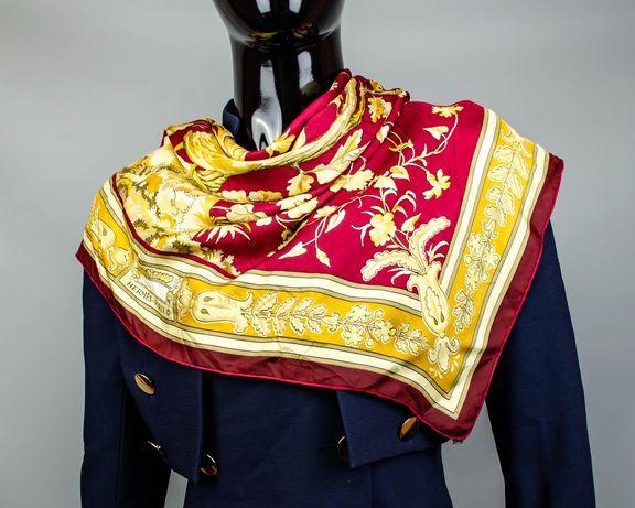 Фирменный шелковый платок Hermes Chanteclair.Красивый яркий платочек