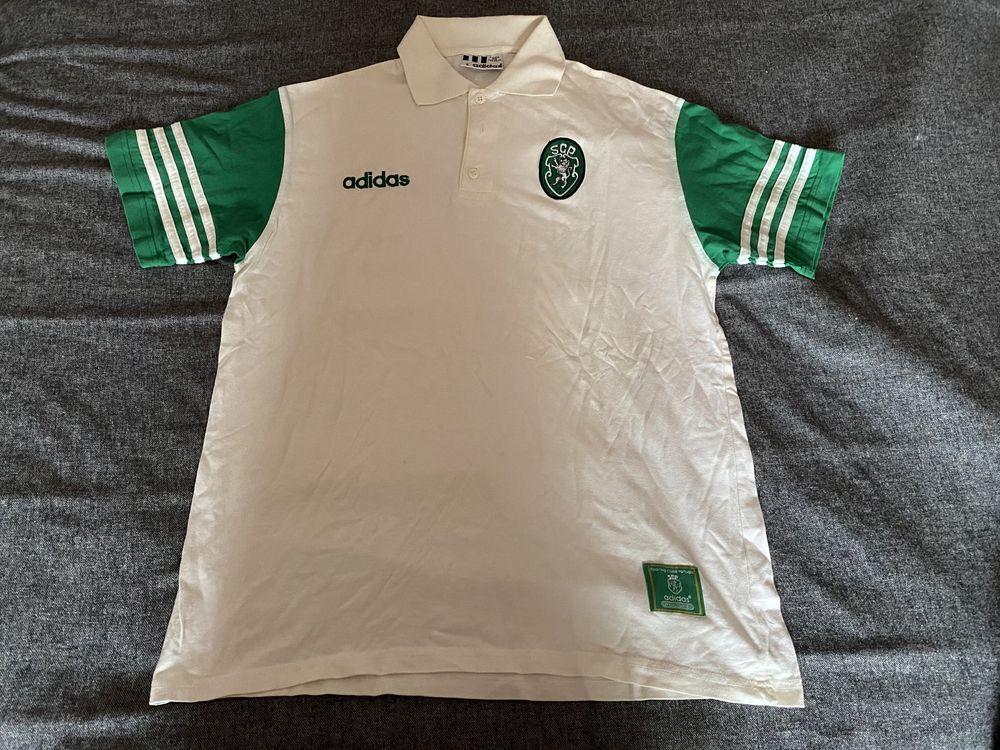 Polo do Sporting Adidas anos 90 scp futebol camisola antiga de passeio