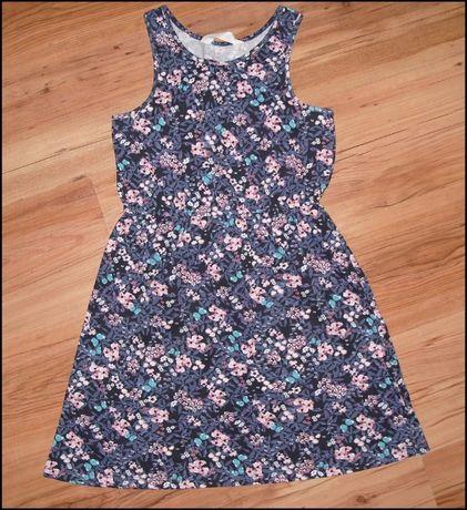 NOWA sukienka H&M granatowa w kwiatki r.134/140