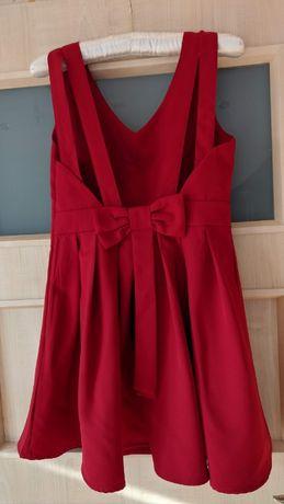 Czerwona sukienka 36 kokarda bez pleców na święta sylwester