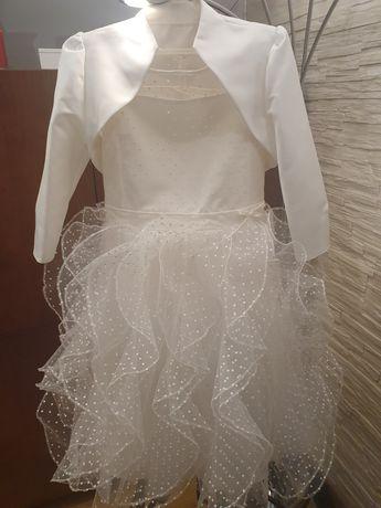 Nietuzinkowa Sukienka komunijna w kolorze ecru  roz.146