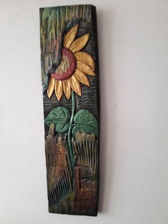 Płaskorzeźba w drewnie lipowym rękodzieło piękny słonecznik