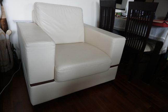 Fotel skórzany, biały