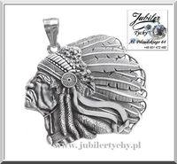 Srebrny Indianin Apacz wódz pióropusz wisior Indianina Srebro 925