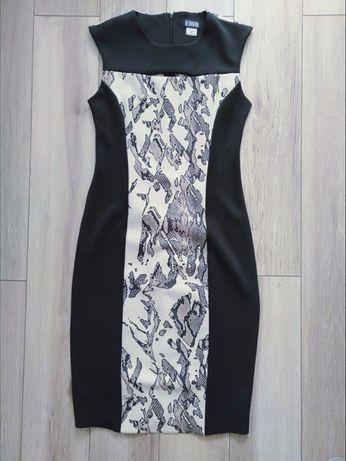 Nowa sukienka emo produkt polski 36 S aplikacja wzór mała czarna