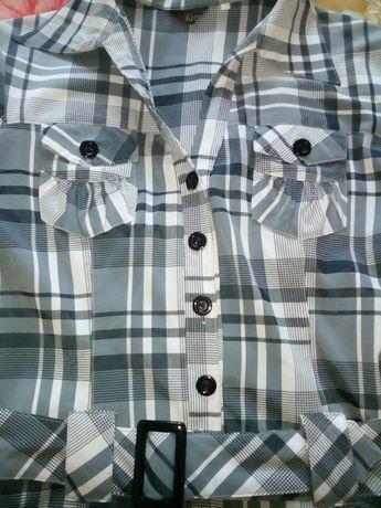 Женская рубашка с поясом, комбез 48 размер