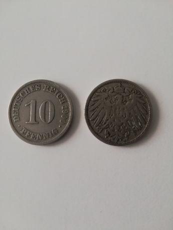 Sprzedam 2 monety 10 pfenning 1900
