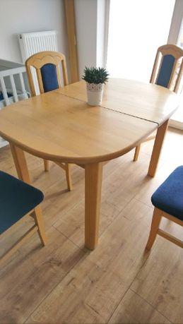 Stół drewniany rozkładany z 6 krzesłami z litego drewna