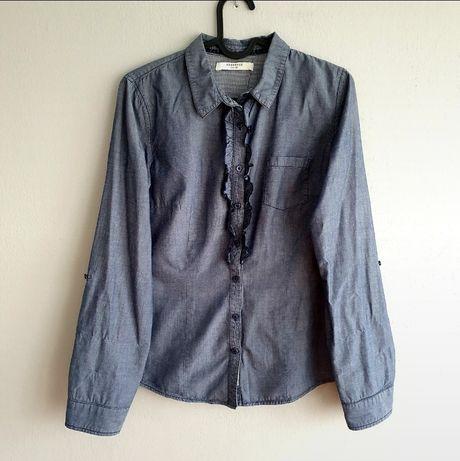 Koszula jak jeansowa taliowana z małym żabotem Reserved 38 m