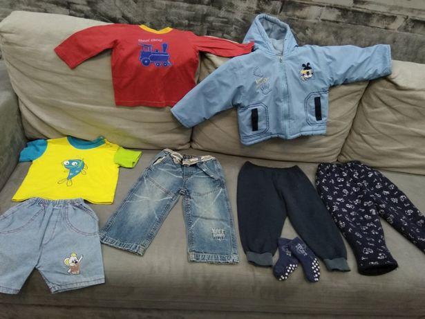 Пакет одежды на малыша 1-2года.Куртка,штаны,джинсы,шорты,футболка.