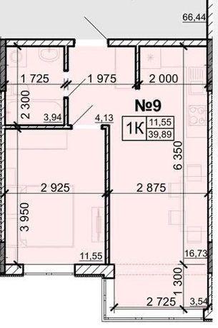 Продам 1 комнатную квартиру 39,89 кв.м, в ЖК Акварель 8, р-н Таирова