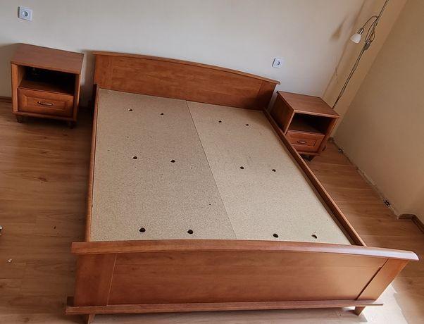 Łóżko drewniane, szafki nocne, szafa komplet