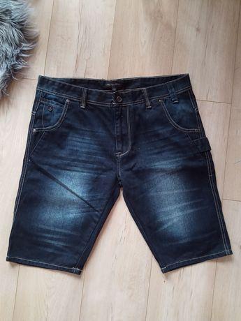 Spodenki męskie szorty krótkie granatowe modne L Black bok
