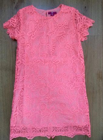 Koronkowa neonowa sukienka YD r. 140 9-10 lat.