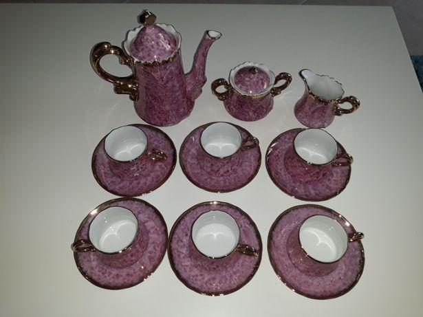 Serviço café chá porcelana chinesa rosa esmaltado