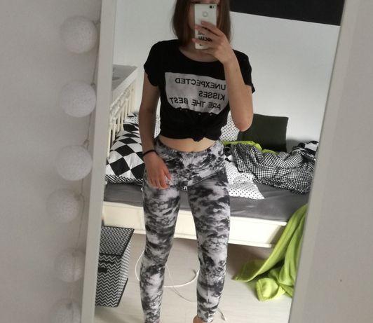 Zestaw 2x bluza z wiązaniem koszulka t-shirt legginsy sinsay croop