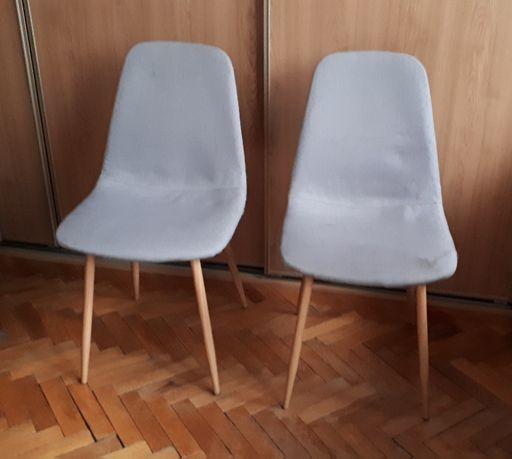 krzesło tapicerowane Oak szare styl skandynawski patyczak