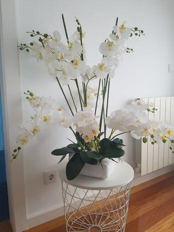 Vaso decorativo 80 cm de 13 pés de orquídeas artificiais