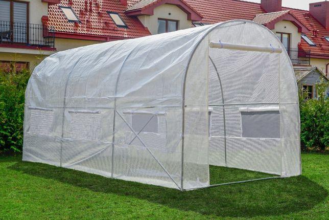 Tunel foliowy Biały z oknami - 9m2 foliak szklarnia