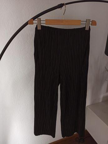 Spodnie czarne culoty prążkowane h&m na gumce lato kieszenie