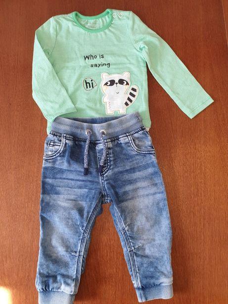 Komplet spodnie f&f + body r.80