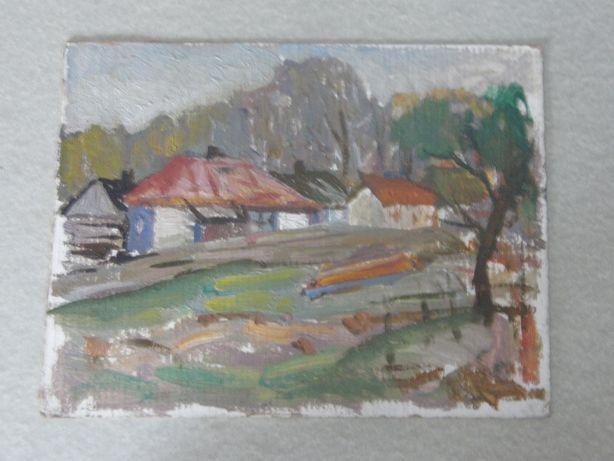 Cельский пейзаж с домиками Довгалевская В.В (1916г.р)