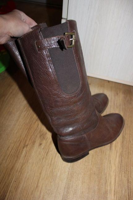 Сапоги zara кожаные 34-35 размер коричневые