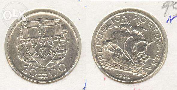 Moeda 10$00/42 - prata