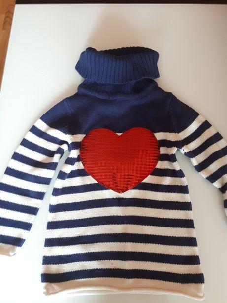 Piękny sweter golf roz 110 z cekinowym sercem Palomino c&A,