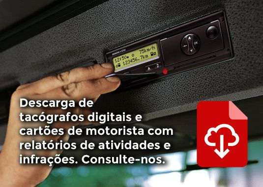 Descarga de tacógrafos digitais e cartões de motorista