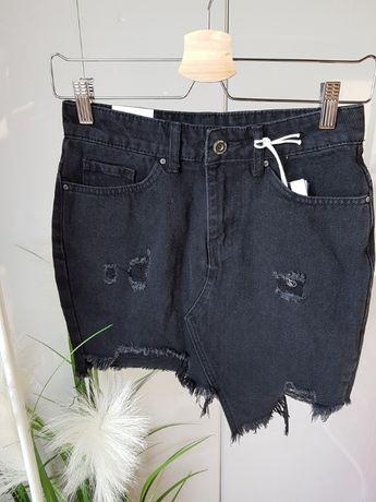 Nowa spódniczka jeansowa z wytarciami S